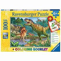 100pc World of Dinosaurs Puzzle + Coloring Book